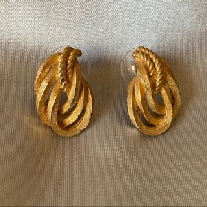 Dior Vintage Gold Plated Knot Earrings